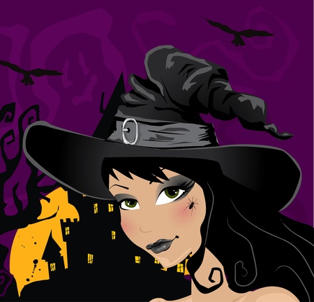sexy witch portrait Stock Vector - 10999761