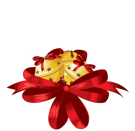 Vector illustration of shiny golden Christmas bells decorated with red bow  Vector