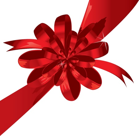 Grande fiocco rosso vacanza su sfondo bianco