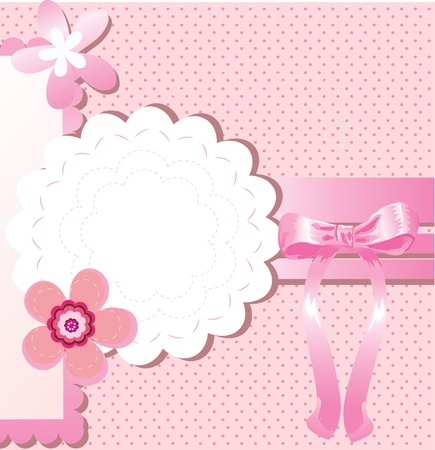 Card for greeting or congratulation with the pink bow Vector