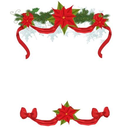 Christmas frame with pointsettia  Vector