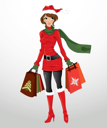 holiday shopping: Woman with shopping bags