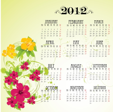 calendar 2012 with pink flowers  Vector