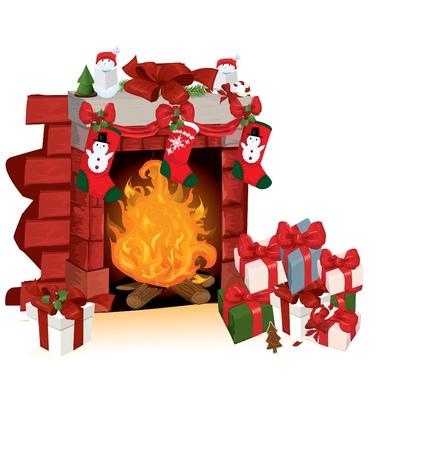 fireplace christmas: Christmas fireplace vector