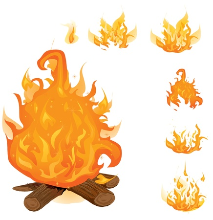 Vector flame collection  Stock Illustratie