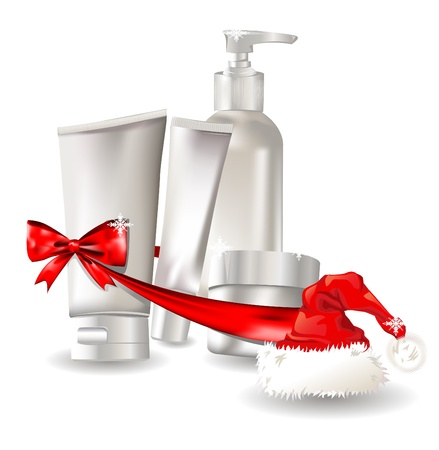 Cosmetic container gift set with santa hat Vector