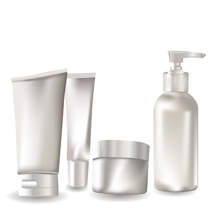 lotion: Cosmetic container set  Illustration