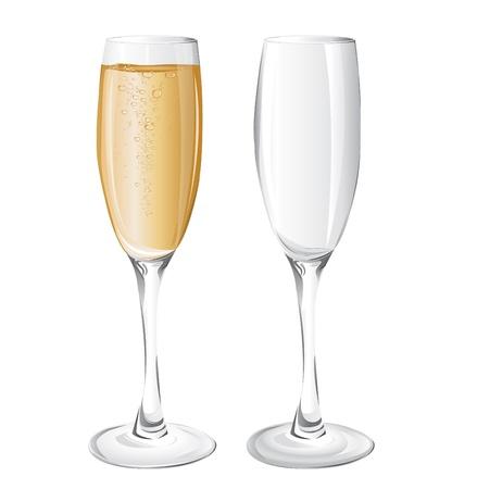 bollicine champagne: bicchieri di champagne Vettoriali