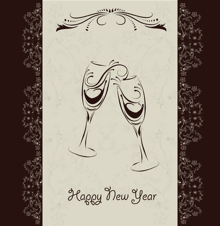 champagne toast: new year invitation card  Illustration