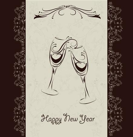 champagne celebration: new year invitation card  Illustration