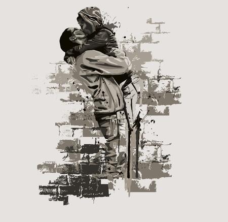öpücük: Çift öpüşme Çizim