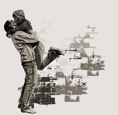 verlobt: Ein junges Paar küssen einander. Illustration