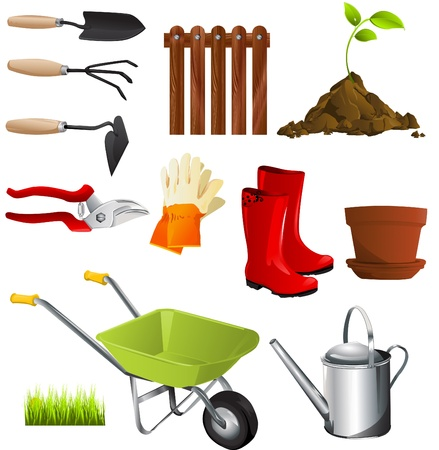 watering garden: garden tools