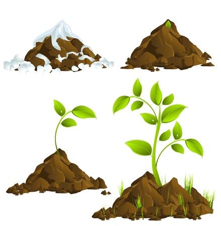 soil pollution: Growing plants Illustration