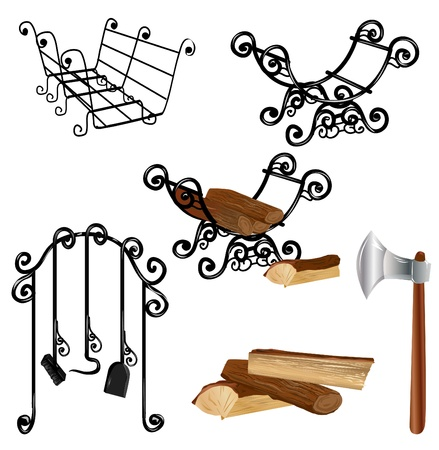 firewood: Fireplace accessories Illustration