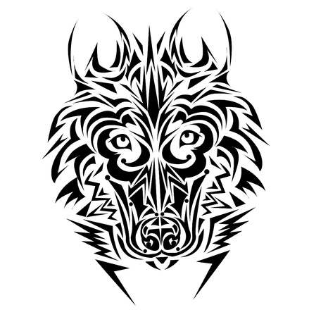 beauty and the beast: Wolf tribal tattoo style