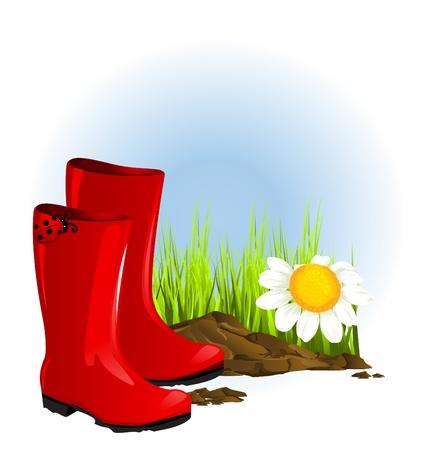 botas de lluvia: roja de goma