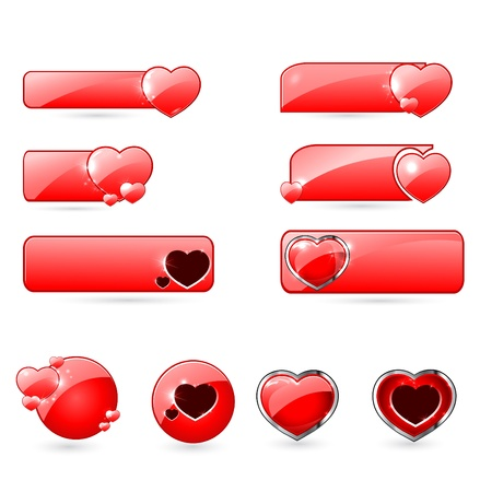red valentines  day buttons set  Vector