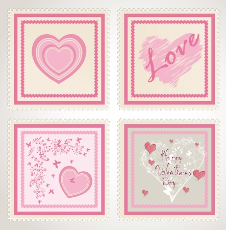 valentine`s day stamps set  Stock Vector - 12488691