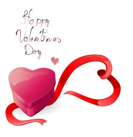 Heart-shaped box with ribbon Vector