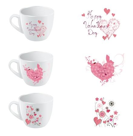 designe: valentine day cup  designe set