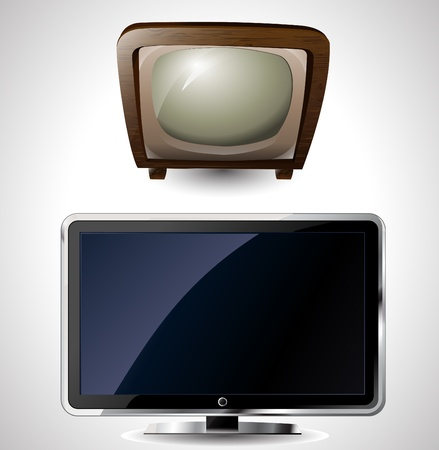 flat screen tv: illustration of a new and old television
