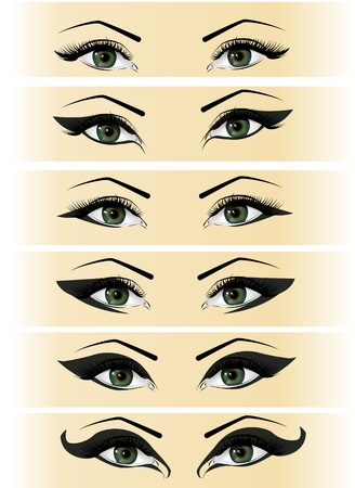 eyelashes: Illustration set female eyes