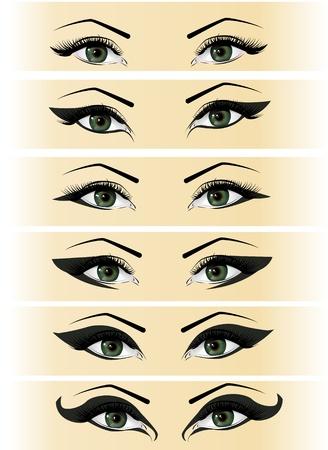 eyebrow makeup: Illustrazione posato gli occhi femminili