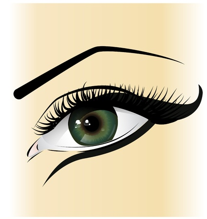 beautiful female green eye Vector