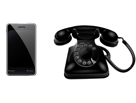 antique phone: Retro phone and smart phone Illustration