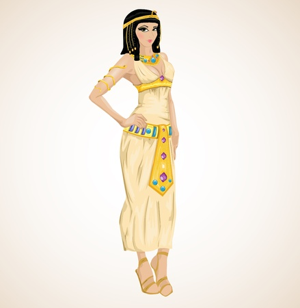 beautiful girl stylized into Cleopatra Vector
