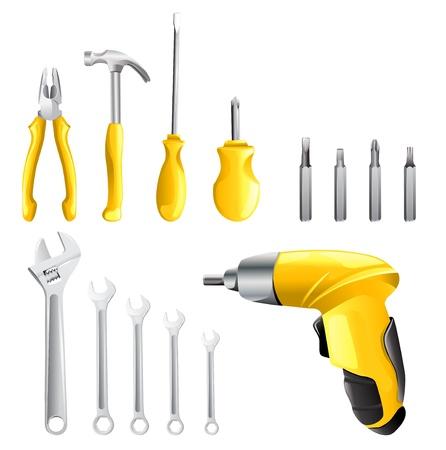 set van verschillende tools op een witte achtergrond
