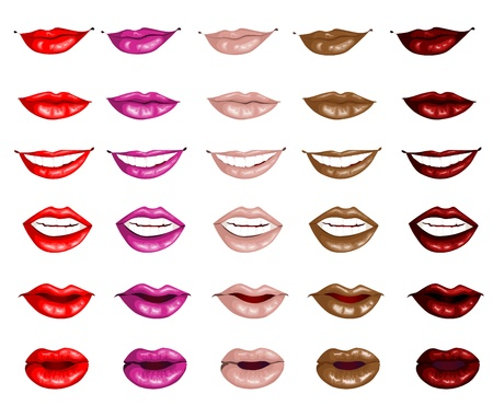 女性の唇は、白い背景で隔離の設定します。  イラスト・ベクター素材