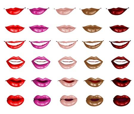 Set female lips isolated on a white background Illustration