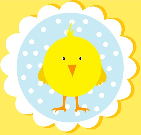 baby chicken: cute easter card Illustration