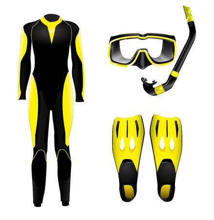 deep sea diver: Diving equipment Illustration