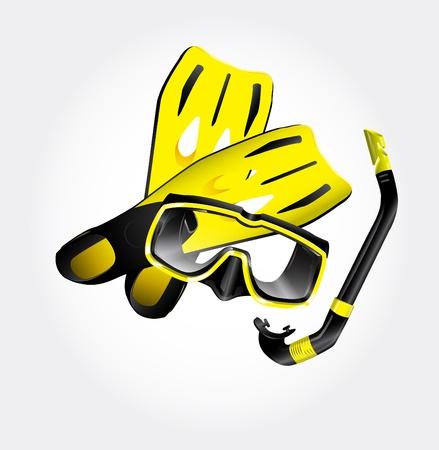 inhalacion: Las aletas, m�scara de buceo y snorkel