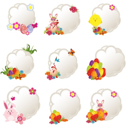 collection of different decorative easter tags Vector