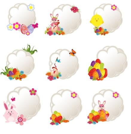 verzameling van verschillende decoratieve Pasen labels Stock Illustratie