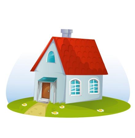 construct: cartoon huis op een witte achtergrond Stock Illustratie