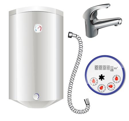 herramientas de plomeria: caldera para calentar el agua y el medidor de agua Vectores