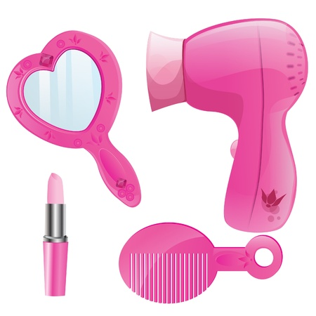 beauty make up:  Pink Beauty Collection,dryer,comb,mirror and lipstick Illustration
