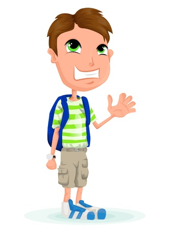 cartoon school boy Vector