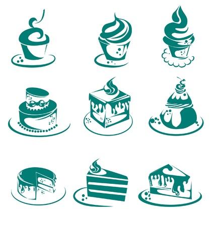 verzameling van taarten en cupcakes