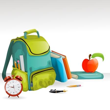 apple computer: school bag, books, pencil, apple and alarm clock