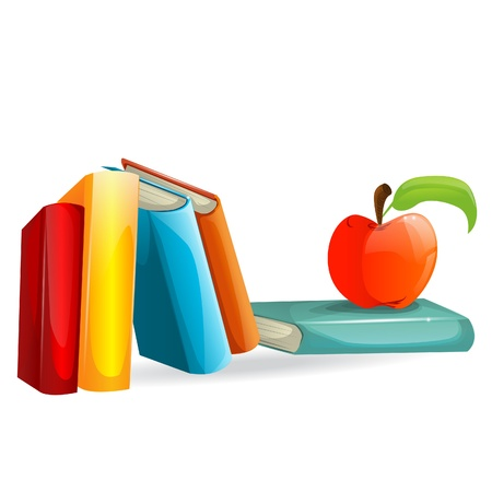 school test: Books and an apple illustration