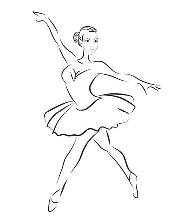 ballerina silhouette: contour sketch of ballet dancer