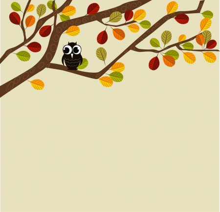 Owl on an autumn branch Illustration