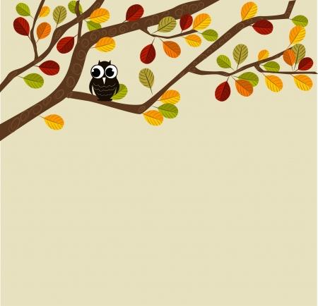 Owl on an autumn branch Illustration