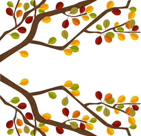 autumn leaf frame: Branch of autumn tree